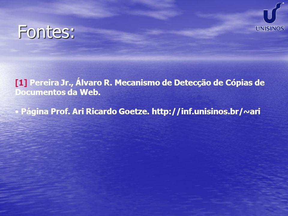 Fontes: [1] Pereira Jr., Álvaro R. Mecanismo de Detecção de Cópias de Documentos da Web.